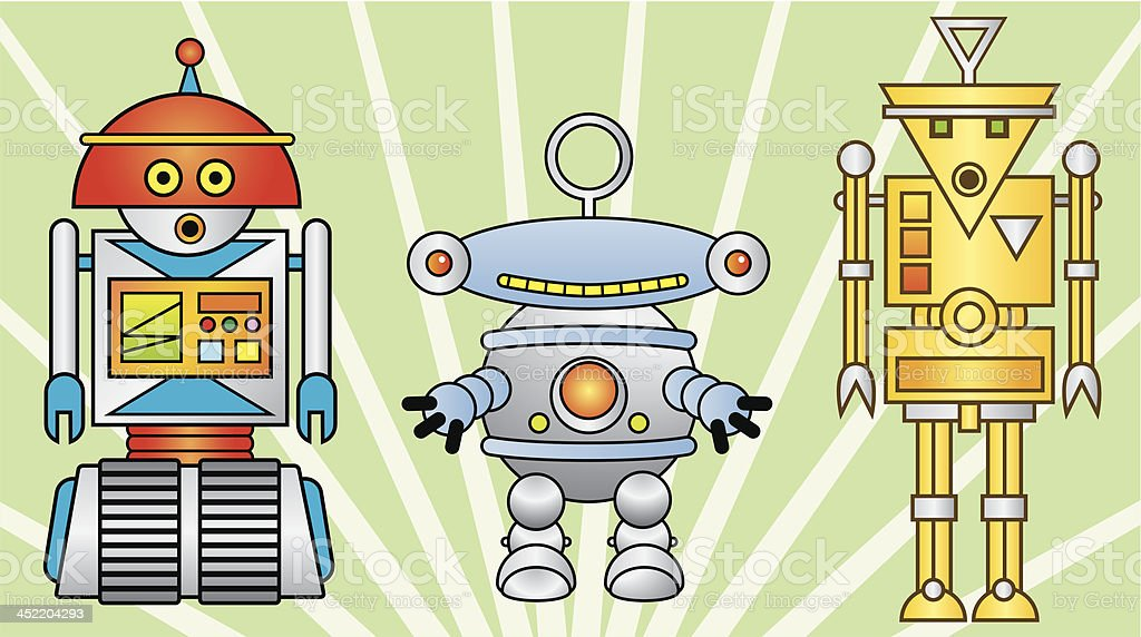 Color Robots vector art illustration