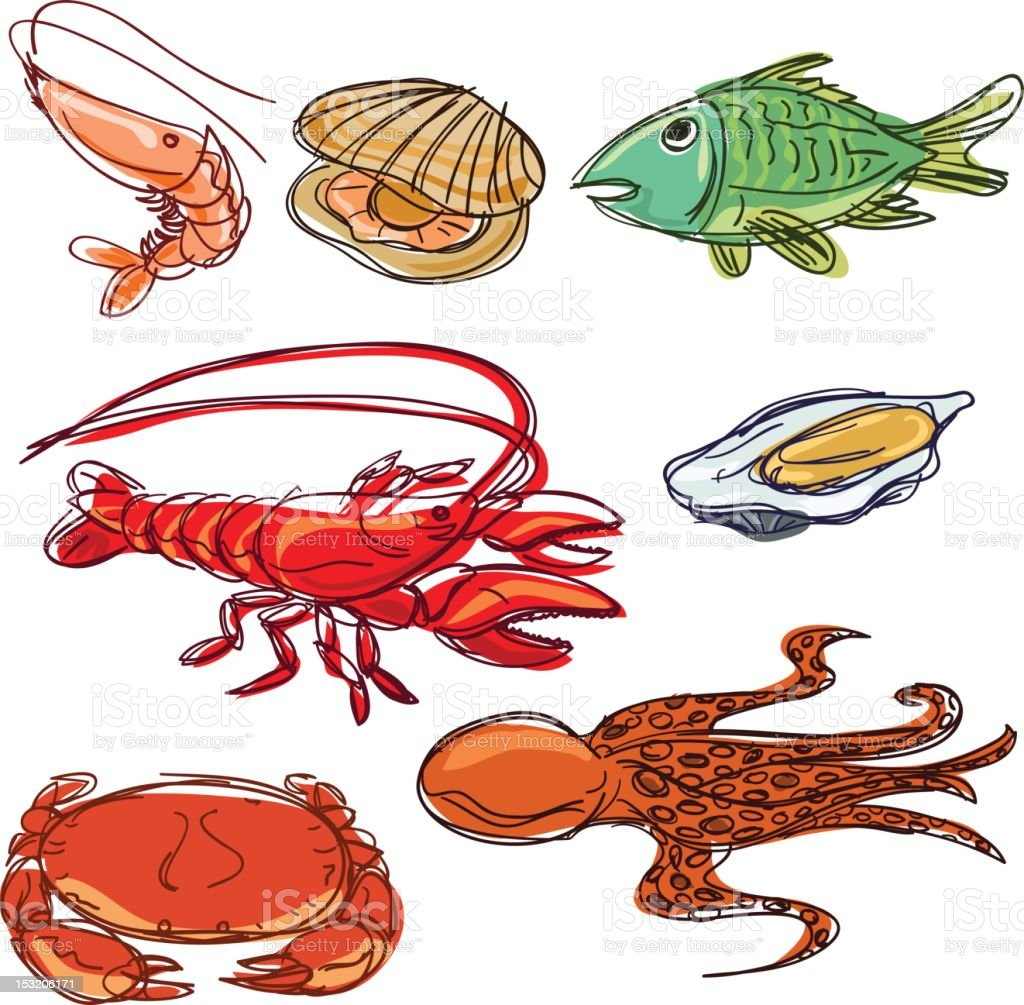 Color Seafood collection royalty-free stock photo