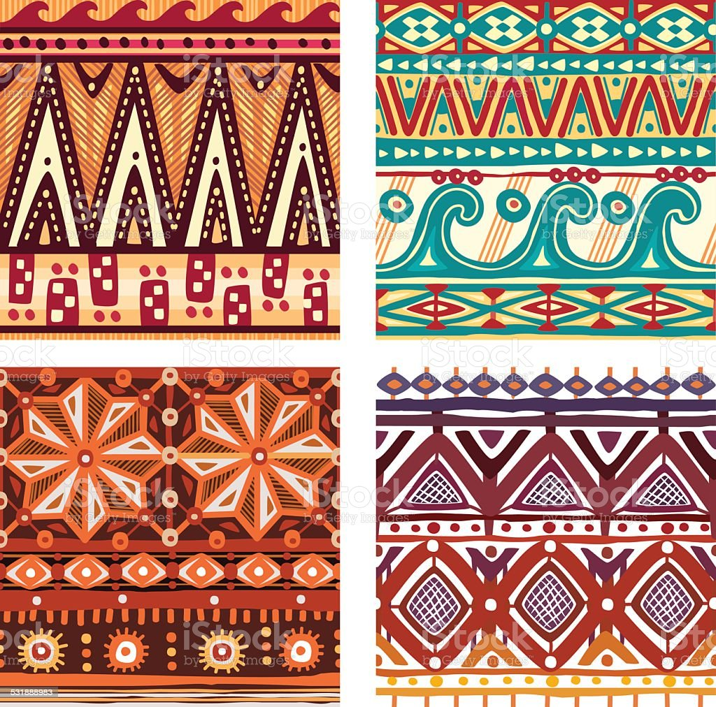 Color seamless tribal texture vector art illustration