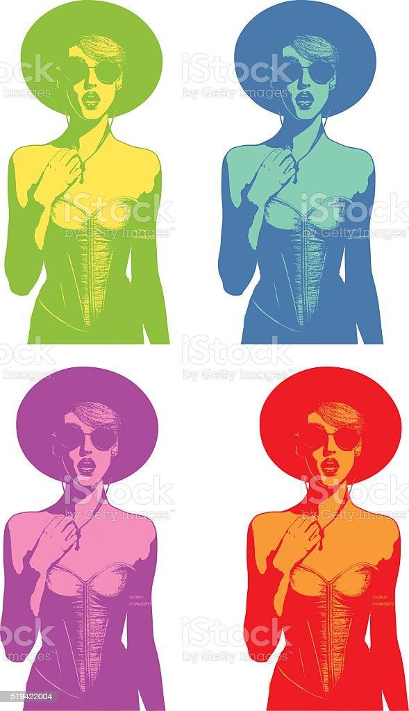 Color set of Line art illustrations of a woman speaking vector art illustration