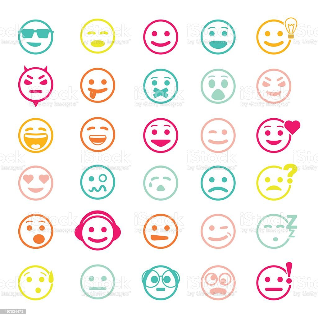 Color set of vector icons with smiley faces vector art illustration