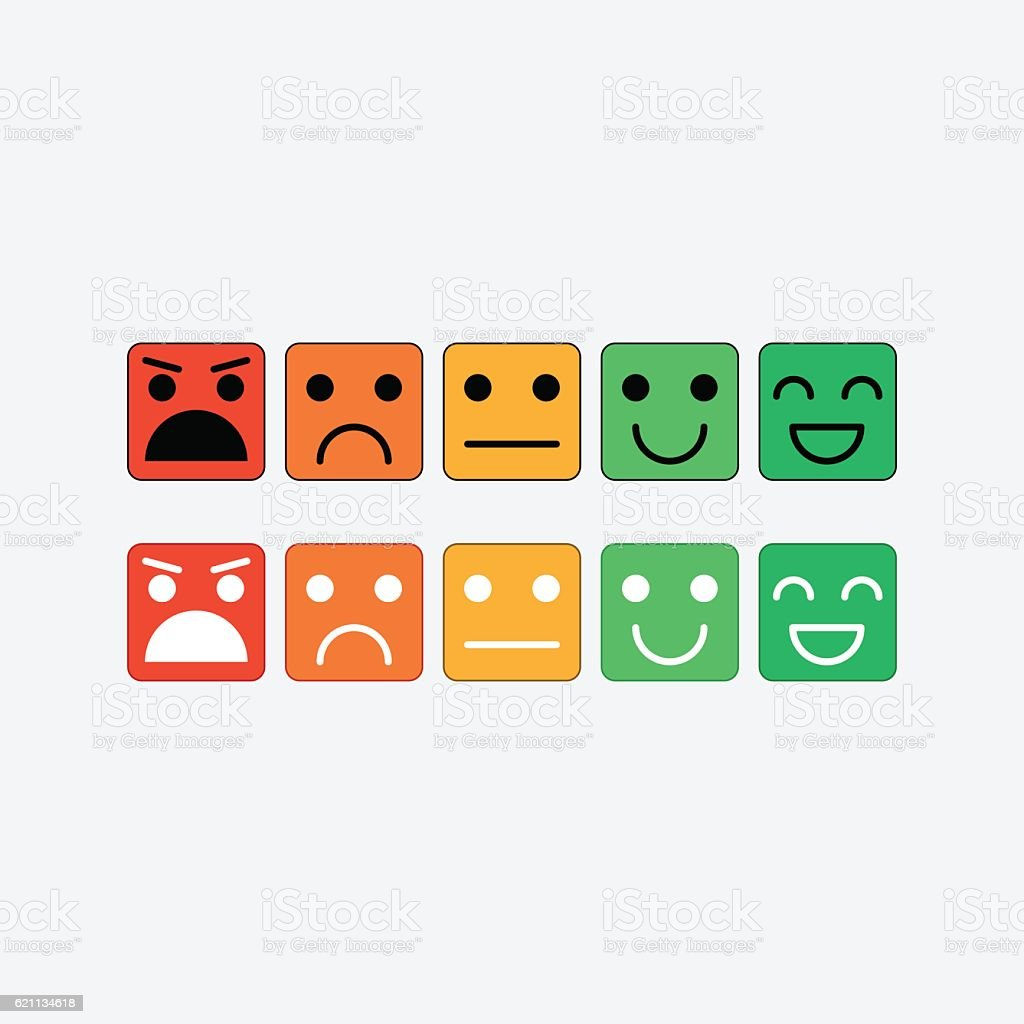 Color set square icon of Emoticons. Rank, level satisfaction rating vector art illustration