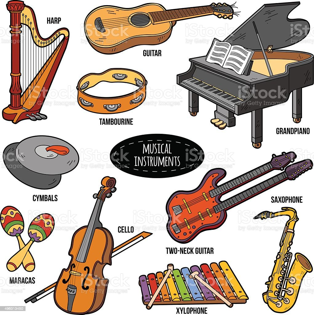 Color set with musical instruments, vector cartoon stickers vector art illustration