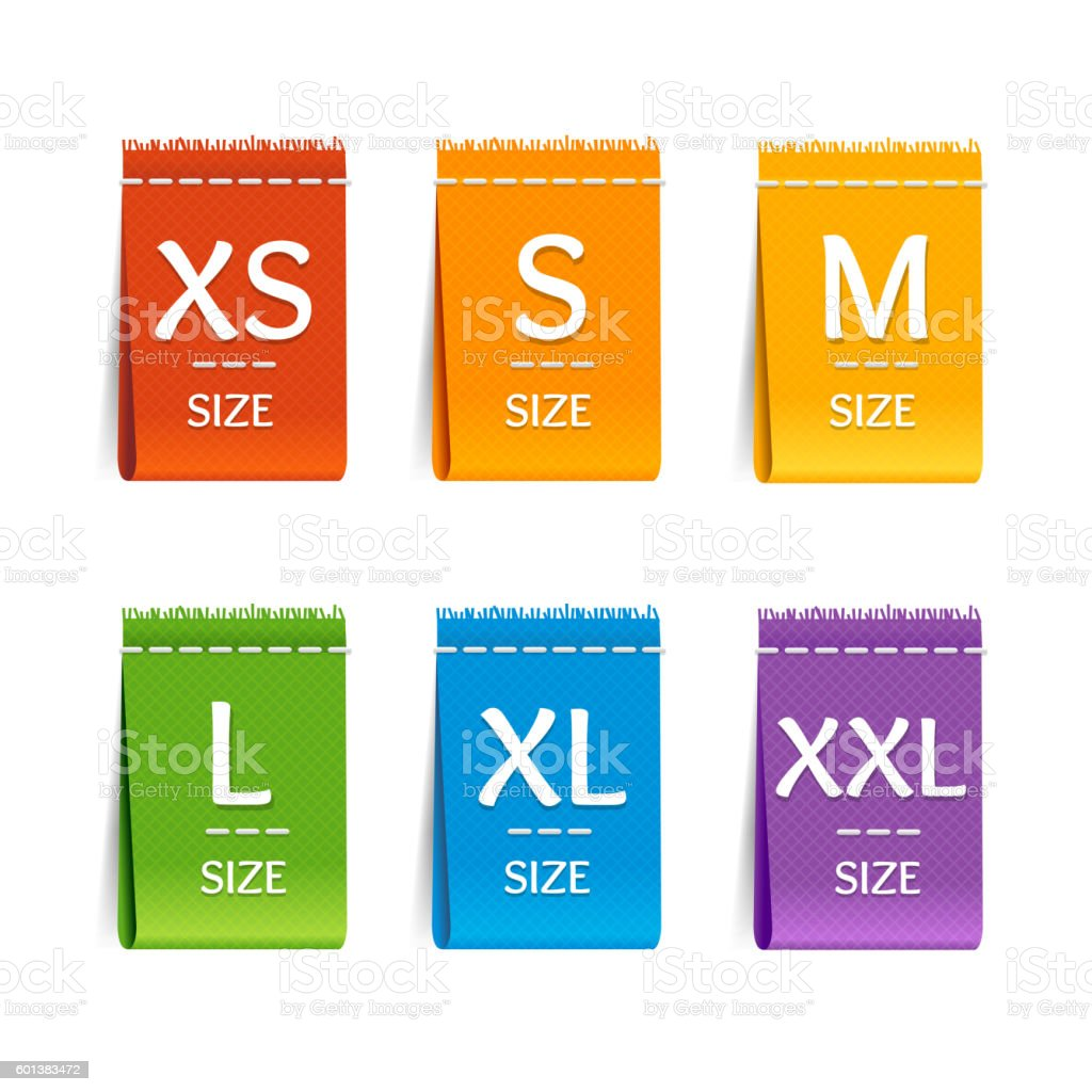 Color Size Clothing Labels Set. Vector vector art illustration