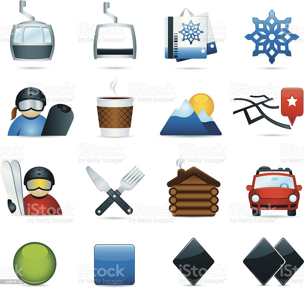 Color Ski Icons royalty-free stock vector art