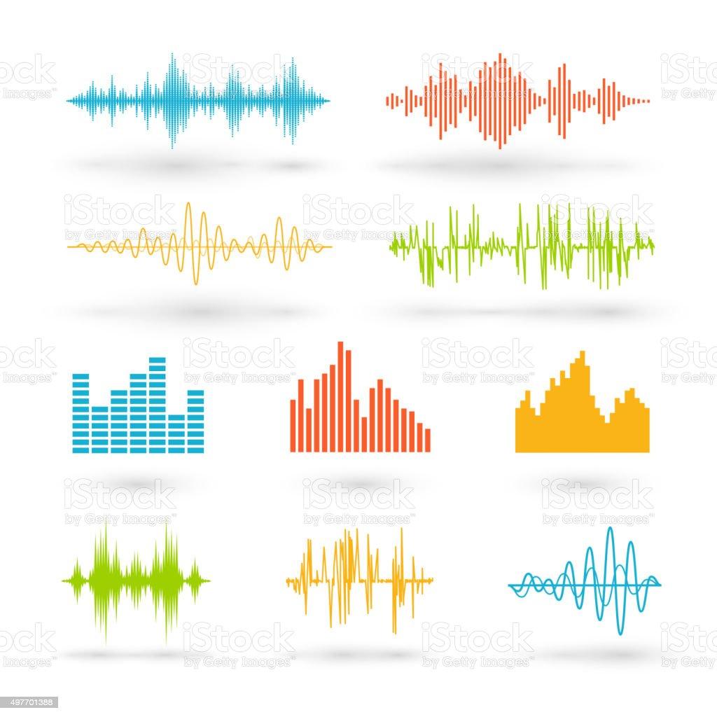 Color sound waves vector art illustration