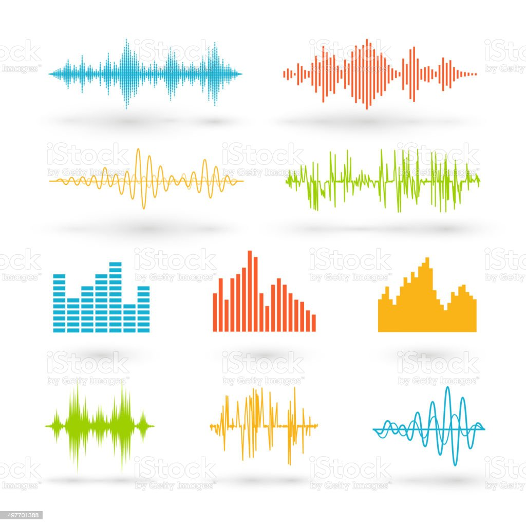 Color sound waves vector art illustration