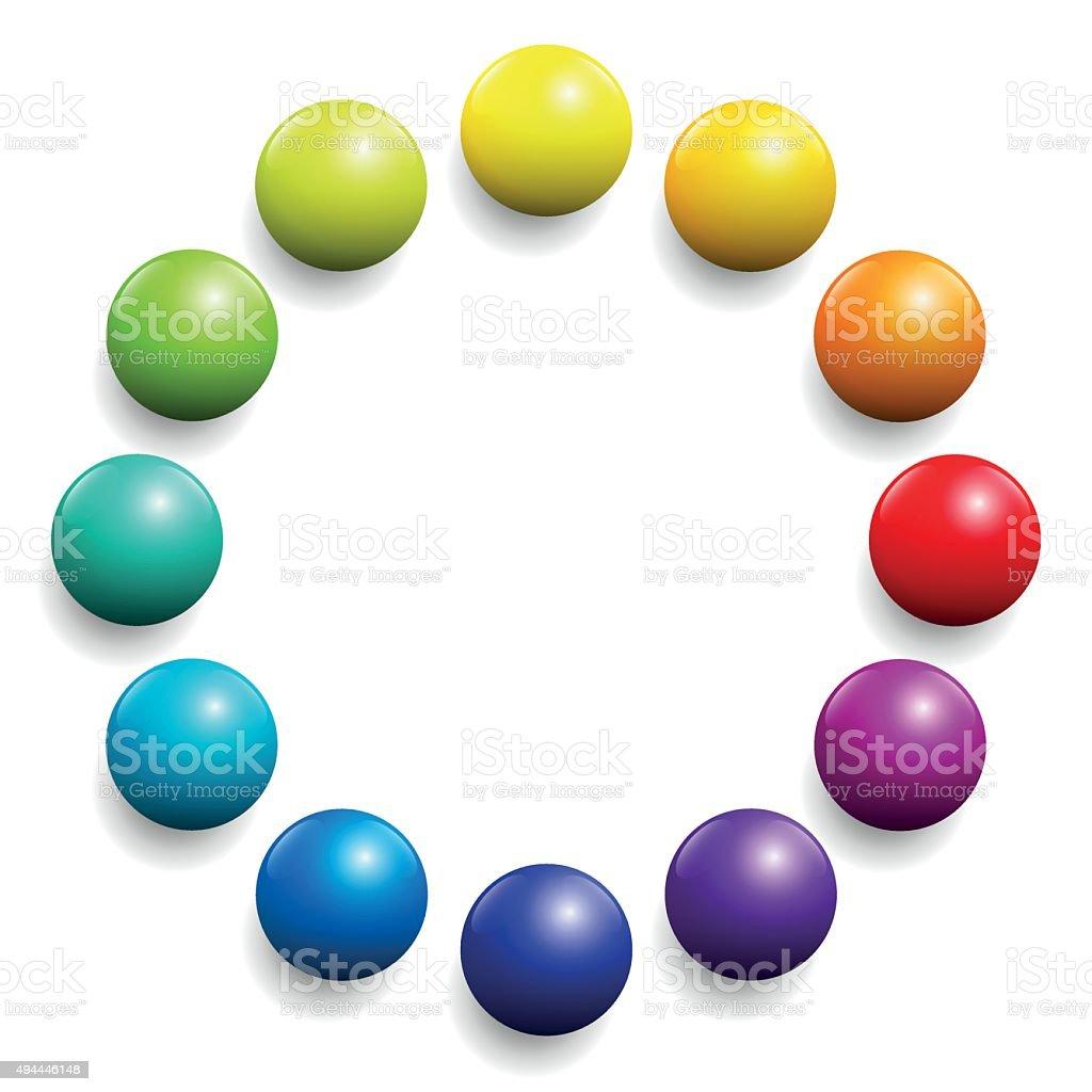 Color Spectrum Twelve Rainbow Balls vector art illustration