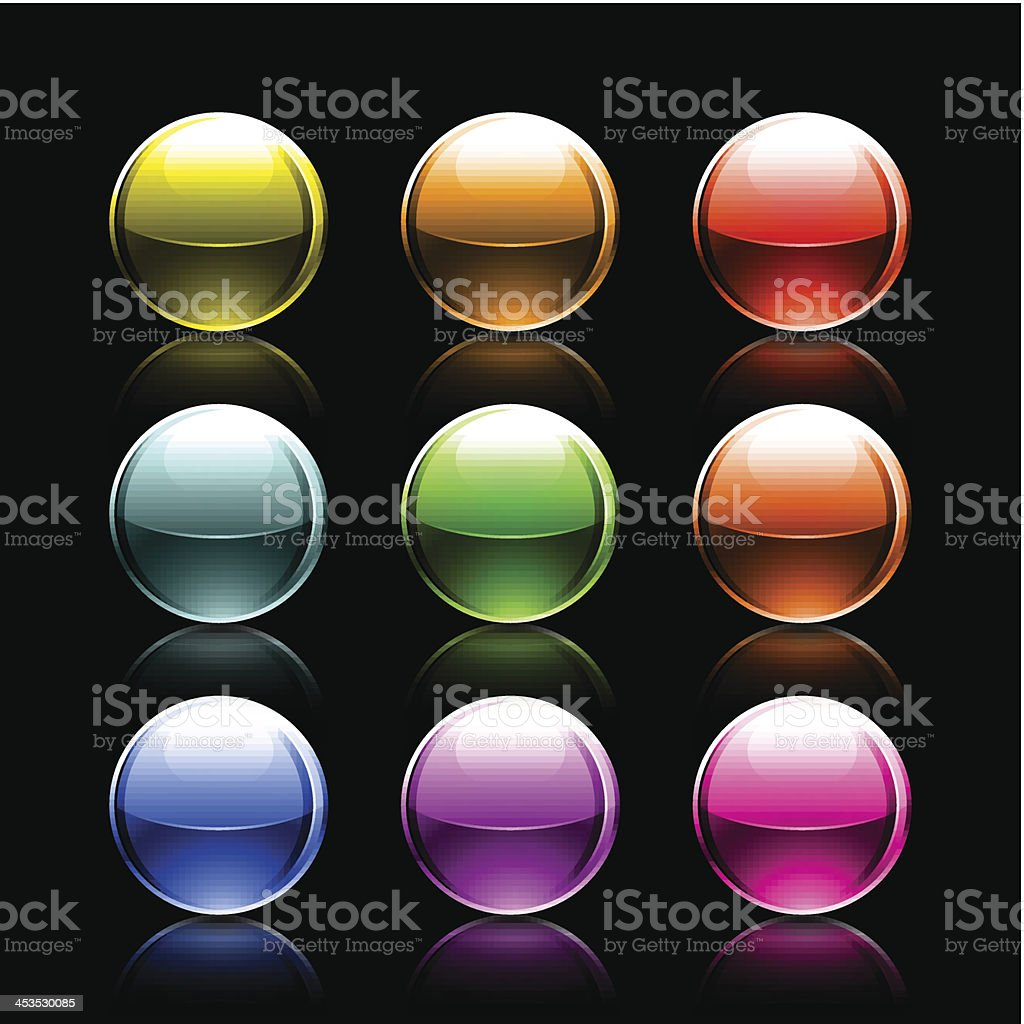 Color sphere glossy ball chrome icon web button royalty-free stock vector art