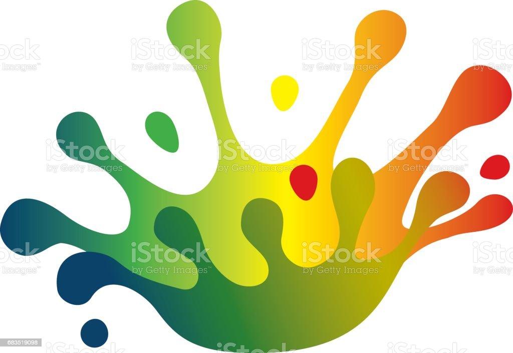 Color splash crown vector art illustration