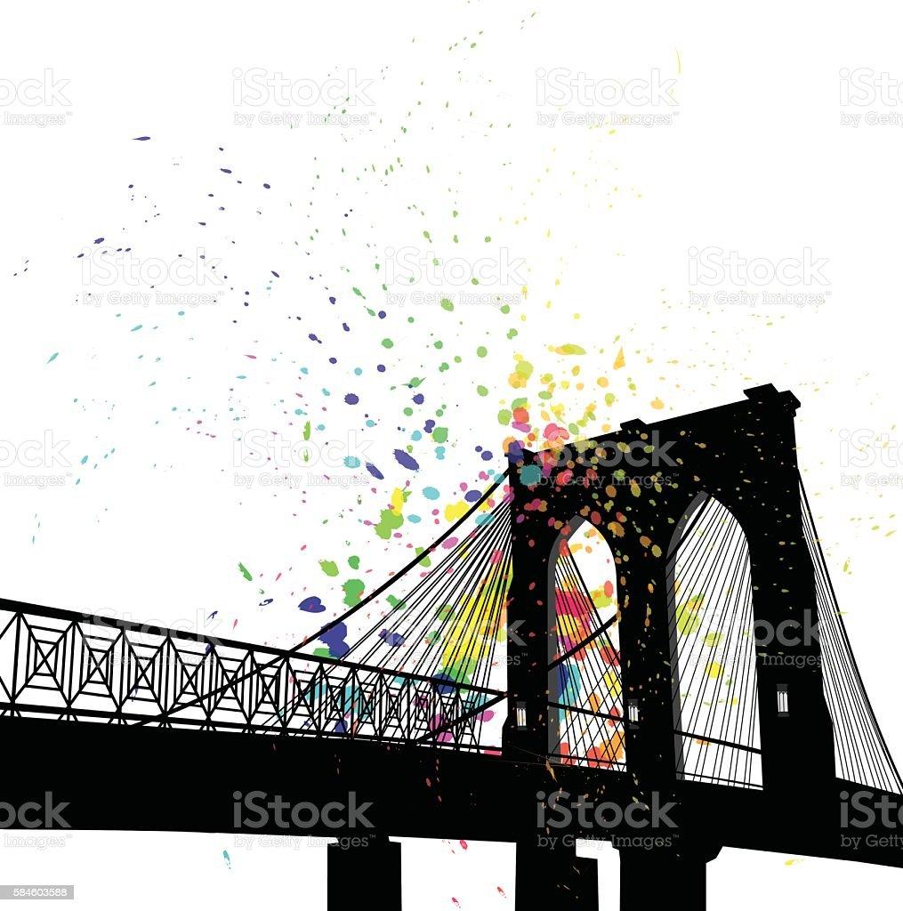 Color Splatt Cable Bridge In New York vector art illustration