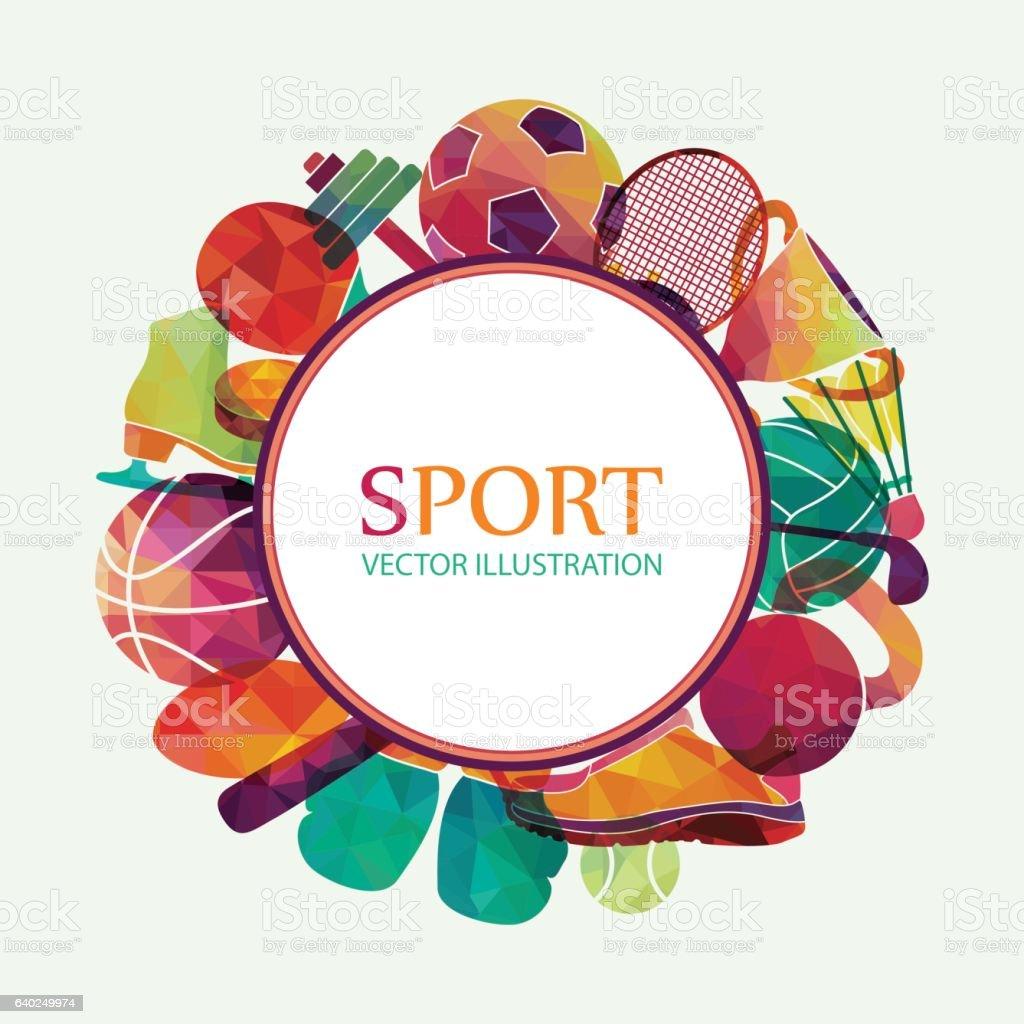 Color sport background. Football, basketball, hockey, box, golf, tennis. Vector vector art illustration