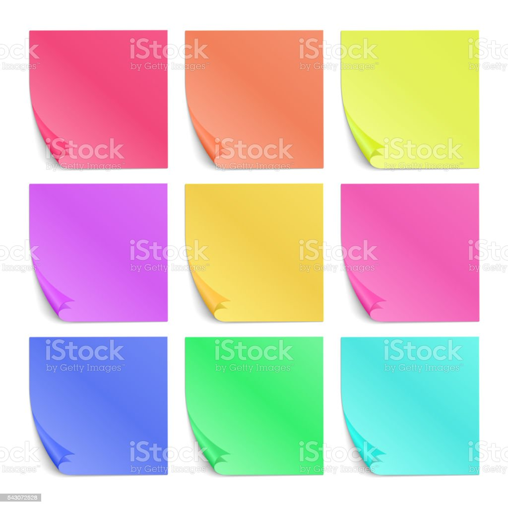 Color sticky notes for notes vector set vector art illustration