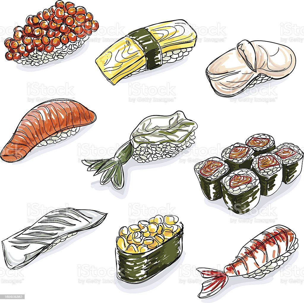 Color Sushi collection royalty-free stock vector art