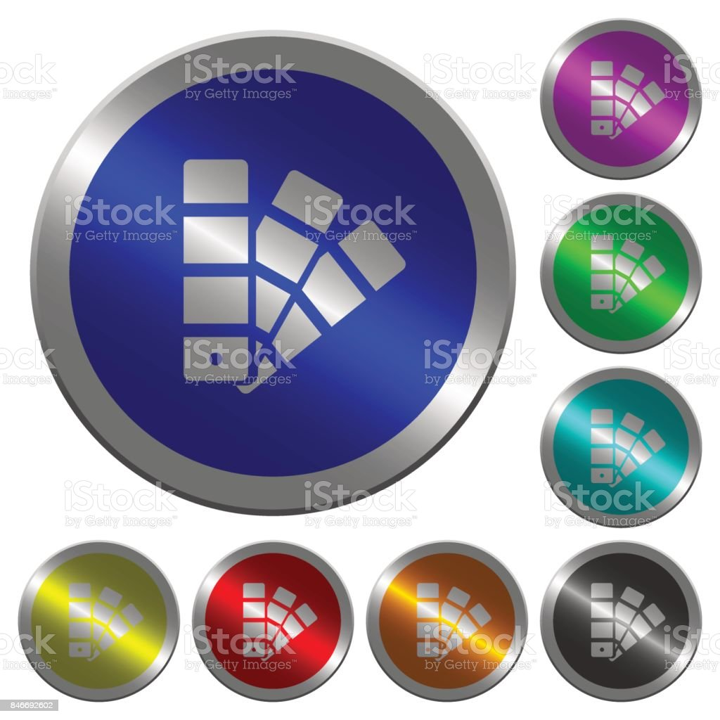 Color swatch luminous coin-like round color buttons vector art illustration