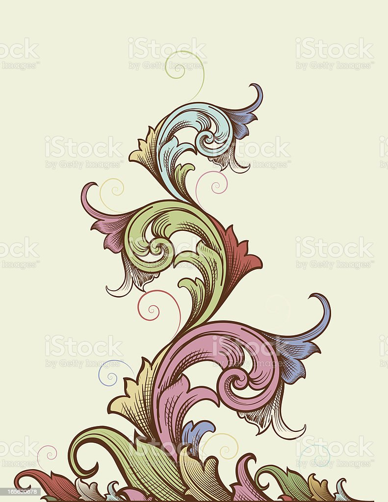 Color Tapering Scroll royalty-free stock vector art