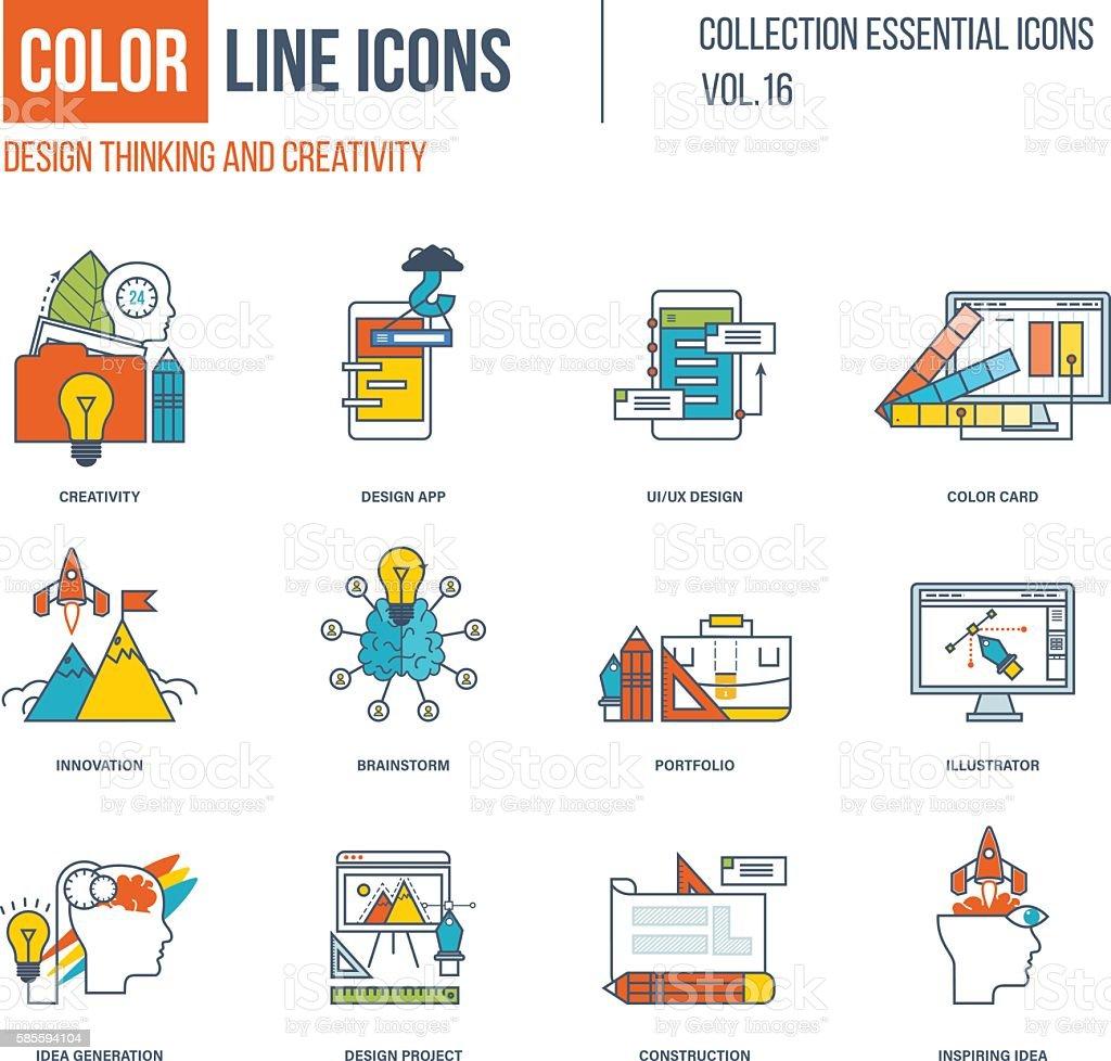 Color thin Line icons set. vector art illustration
