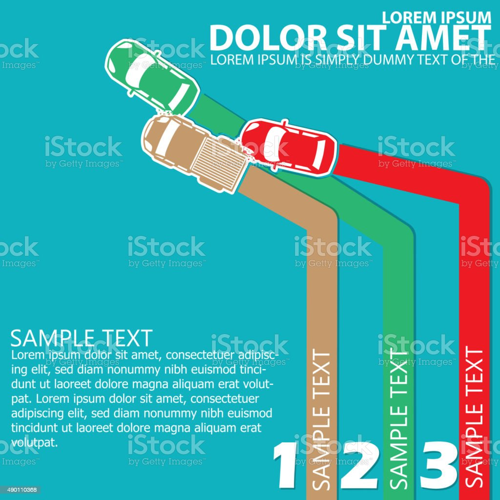 color three cars A collision With space for order theory. vector art illustration
