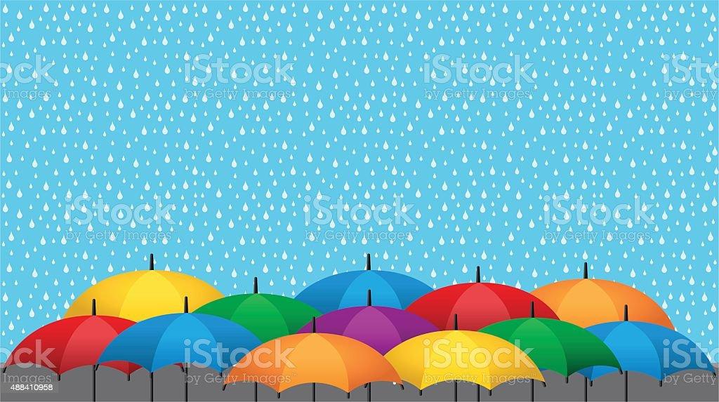 Color umbrellas and rain vector art illustration