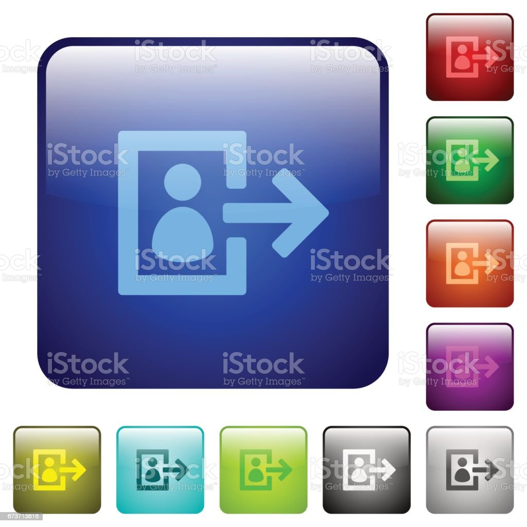 Color user logout square buttons vector art illustration