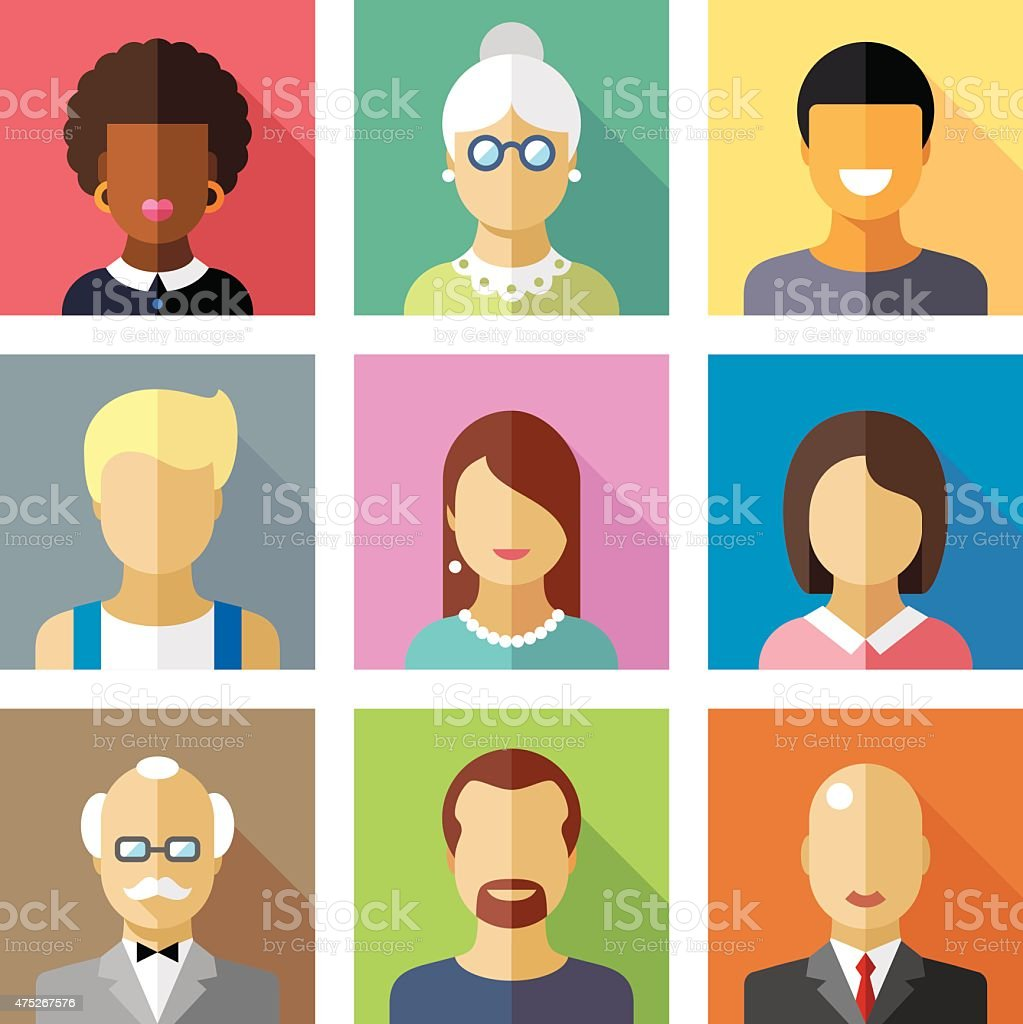 Color vector flat icon set and illustration different people character vector art illustration