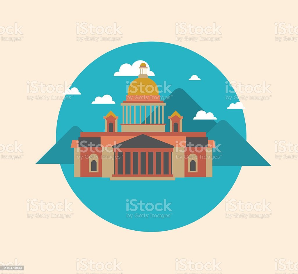 Color vector flat illustrations urban landscapes vector art illustration