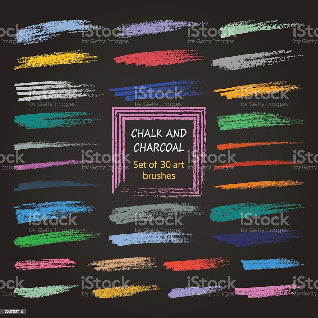 Color vector grunge brushes created with chalk and charcoal. vector art illustration