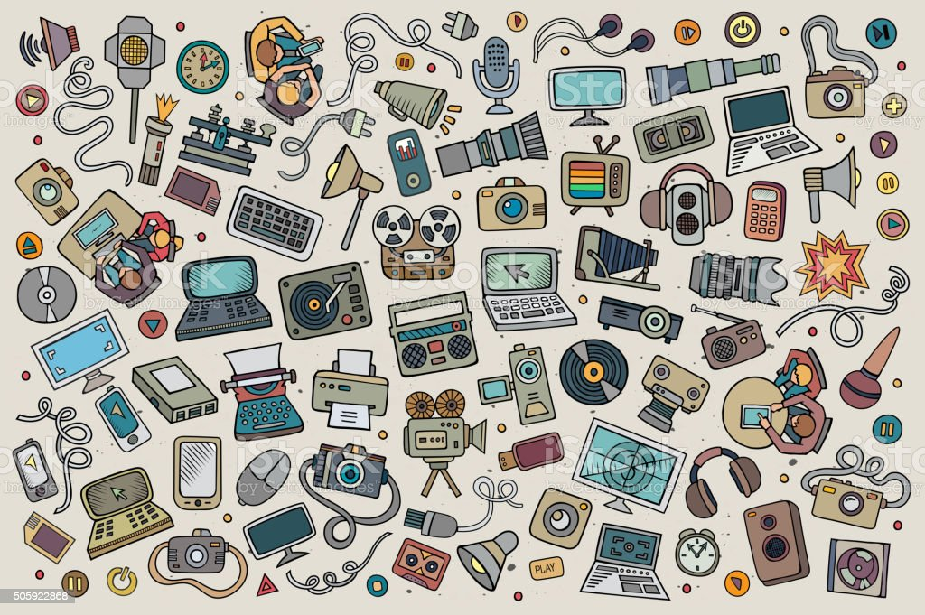 Color vector hand drawn Doodle set of equipment and devices vector art illustration