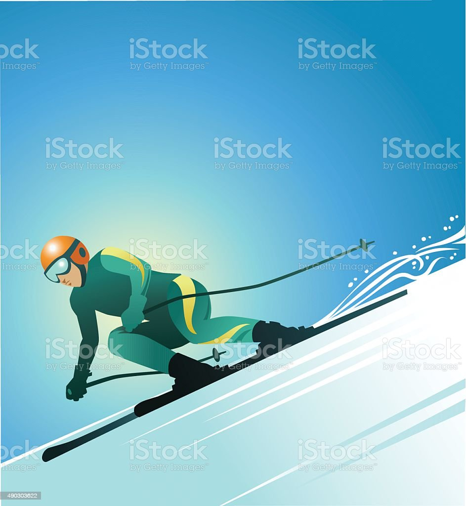 SKIER 3 - color vector art illustration