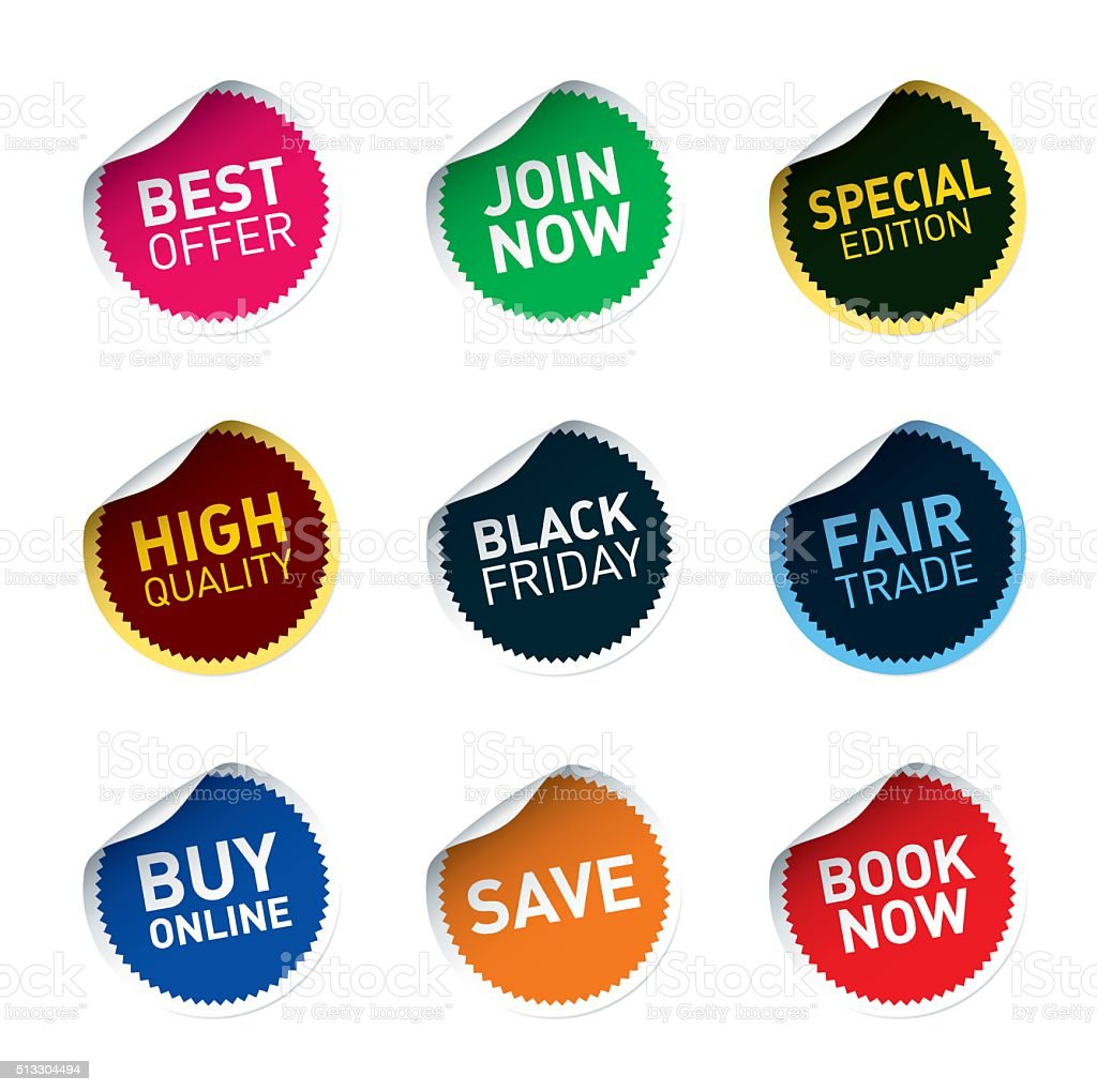 Color vector stickers SAVE, FAIR TRADE, JOIN NOW, BEST vector art illustration