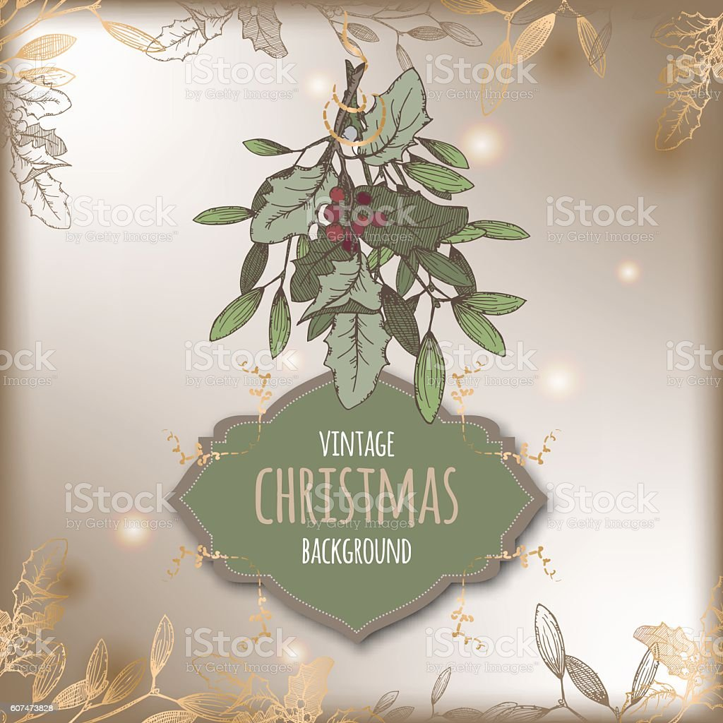 Color vintage Christmas template with mistletoe branch and frame. vector art illustration