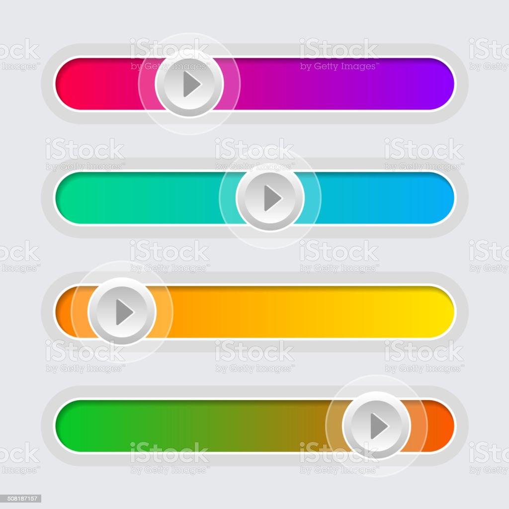 UI Color Volume Control Sliders Set. Vector. royalty-free stock vector art