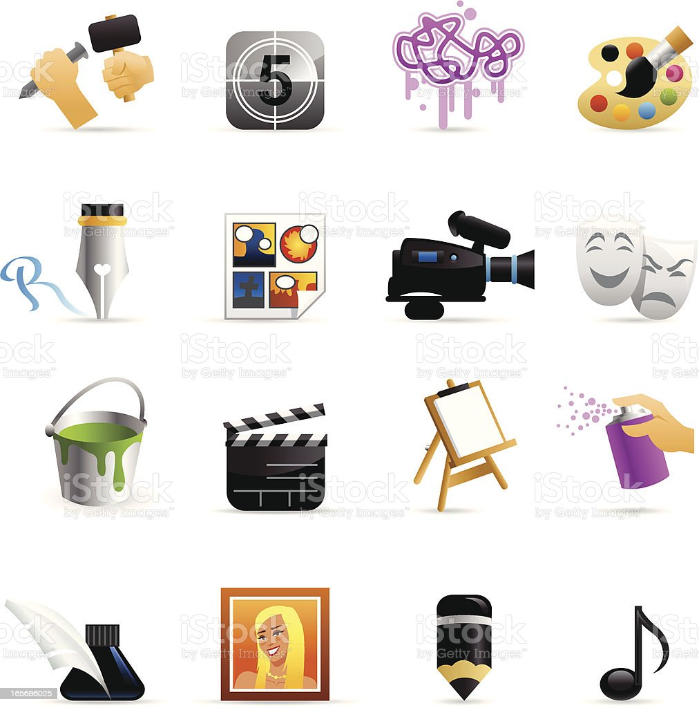 Color Web Icons - Arts royalty-free stock vector art