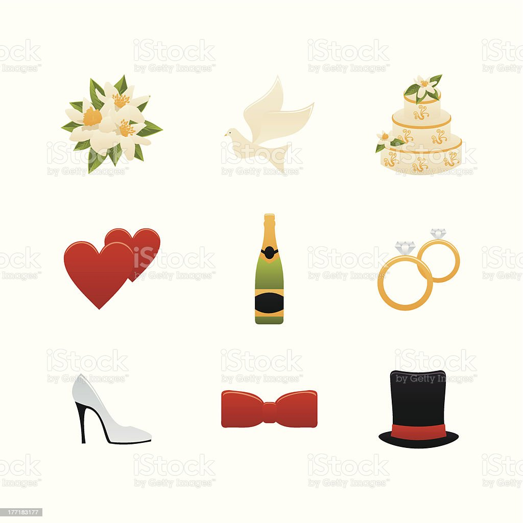 Color Wedding Icons royalty-free stock vector art