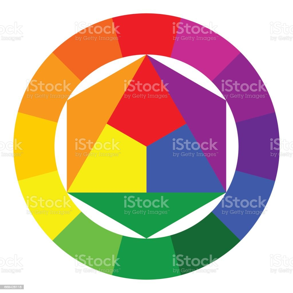 Color wheel and triangle - illustration vector art illustration