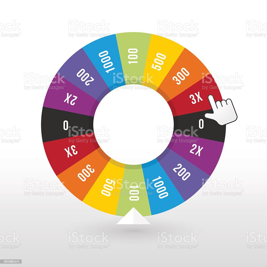 color wheel luck with the amount of money vector art illustration