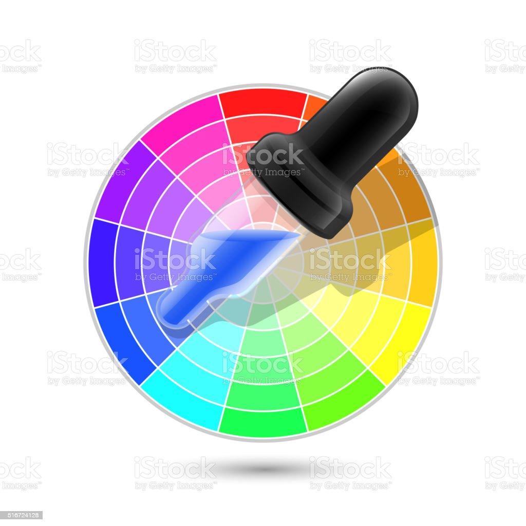Color wheel palette and dropper icon vector art illustration