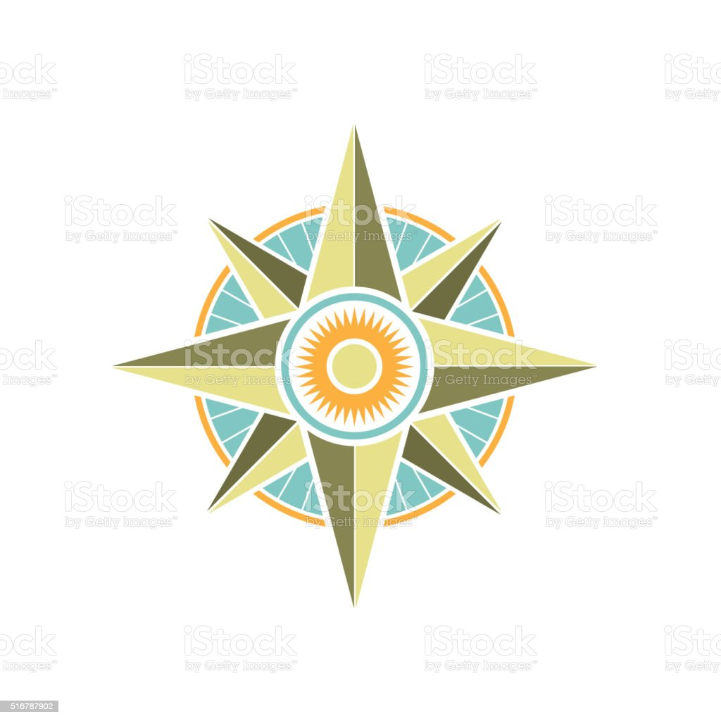 Color wind rose vector art illustration