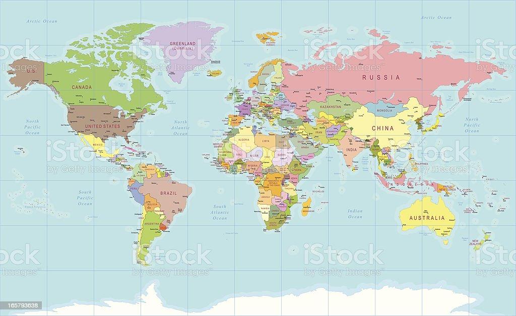 Couleur carte du monde stock vecteur libres de droits 165793638 istock - Carte du monde en couleur ...