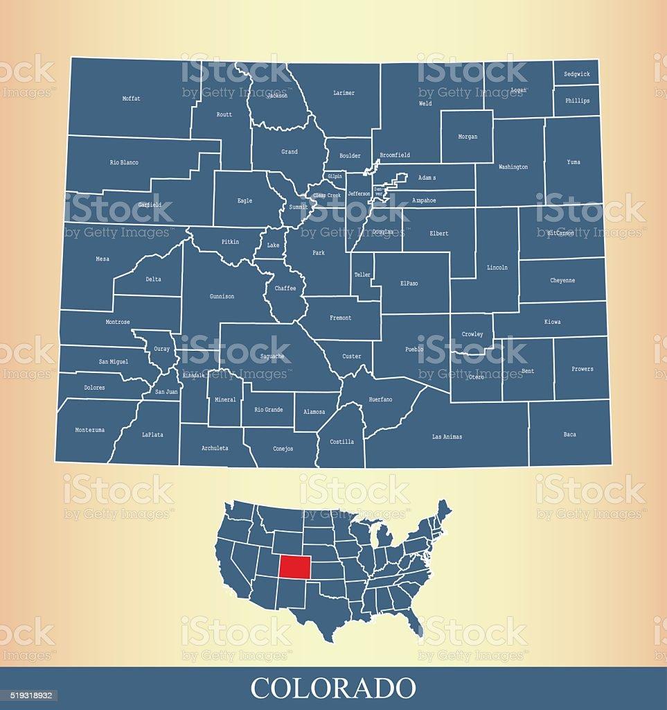 Colorado county map outline vector illustration in creative design vector art illustration