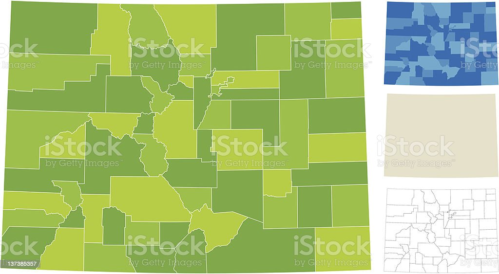 Colorado County Map vector art illustration