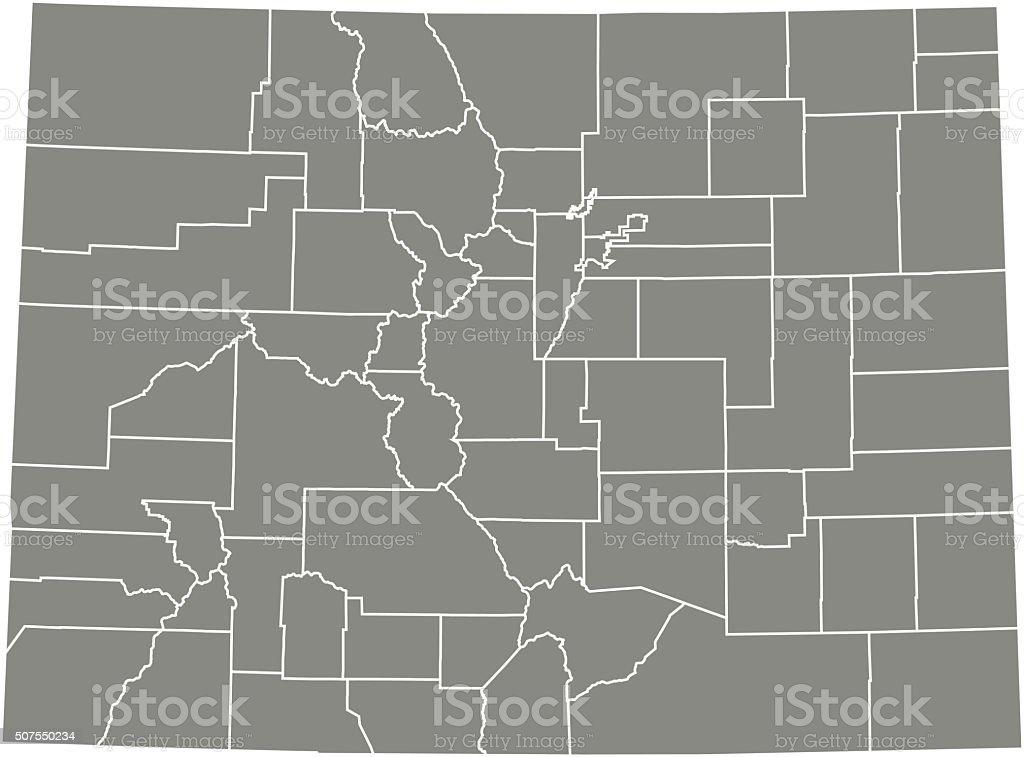 Colorado county map vector outline vector art illustration