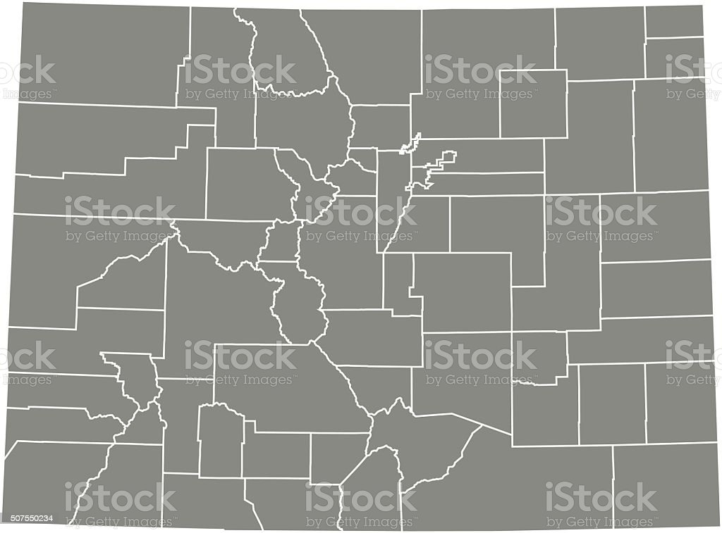 Colorado county map vector outline vector art illustration