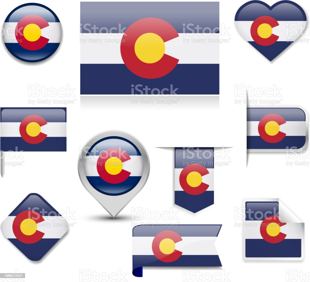 Colorado Flag Collection vector art illustration