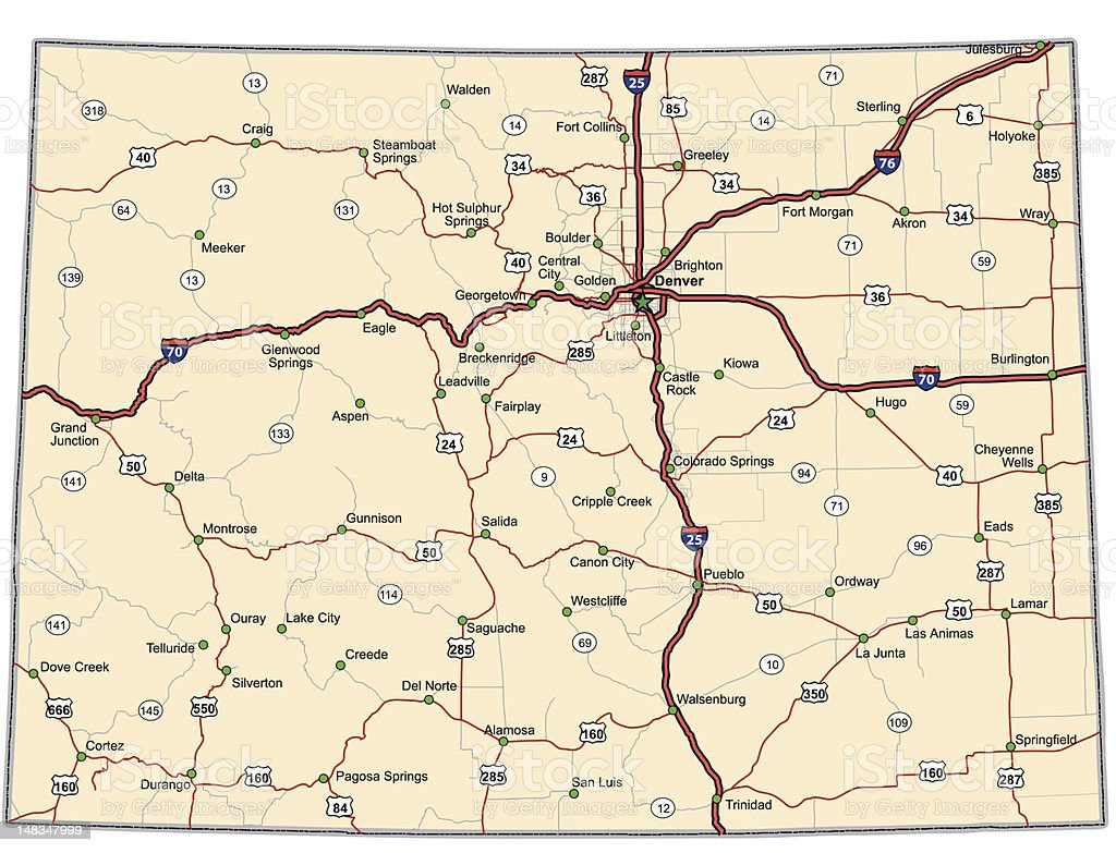 Colorado Highway Map (vector) vector art illustration