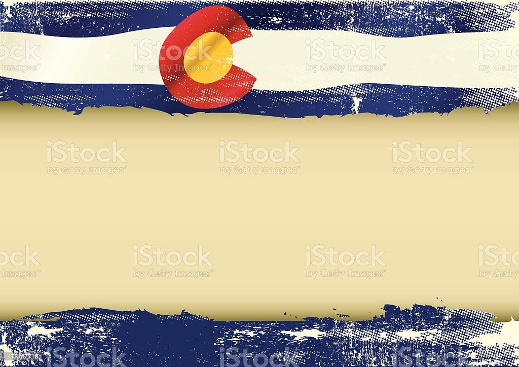 Colorado horizontal scratched flag vector art illustration