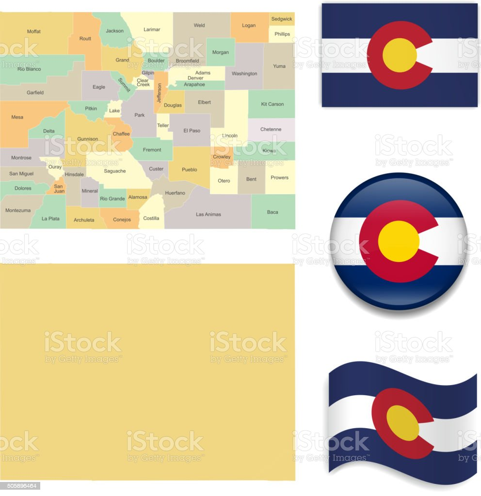 Colorado Map and Flag Collection vector art illustration