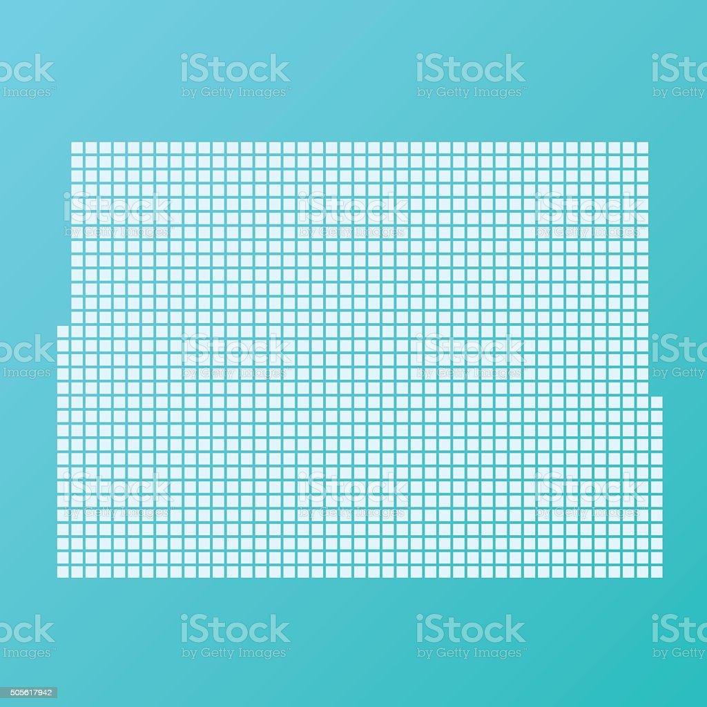 Colorado Map Basic Square Pattern Turquoise vector art illustration
