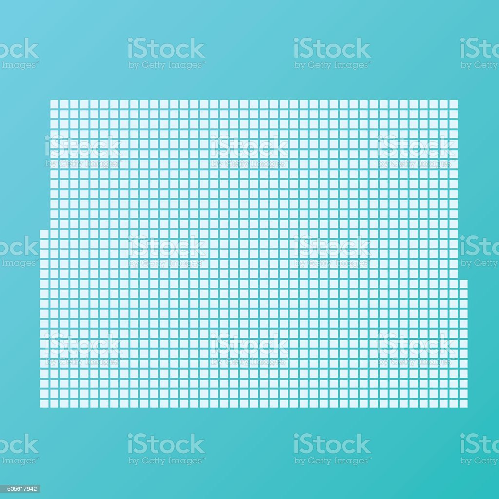 Colorado Map Basic Square Pattern Turquoise vector art illustration