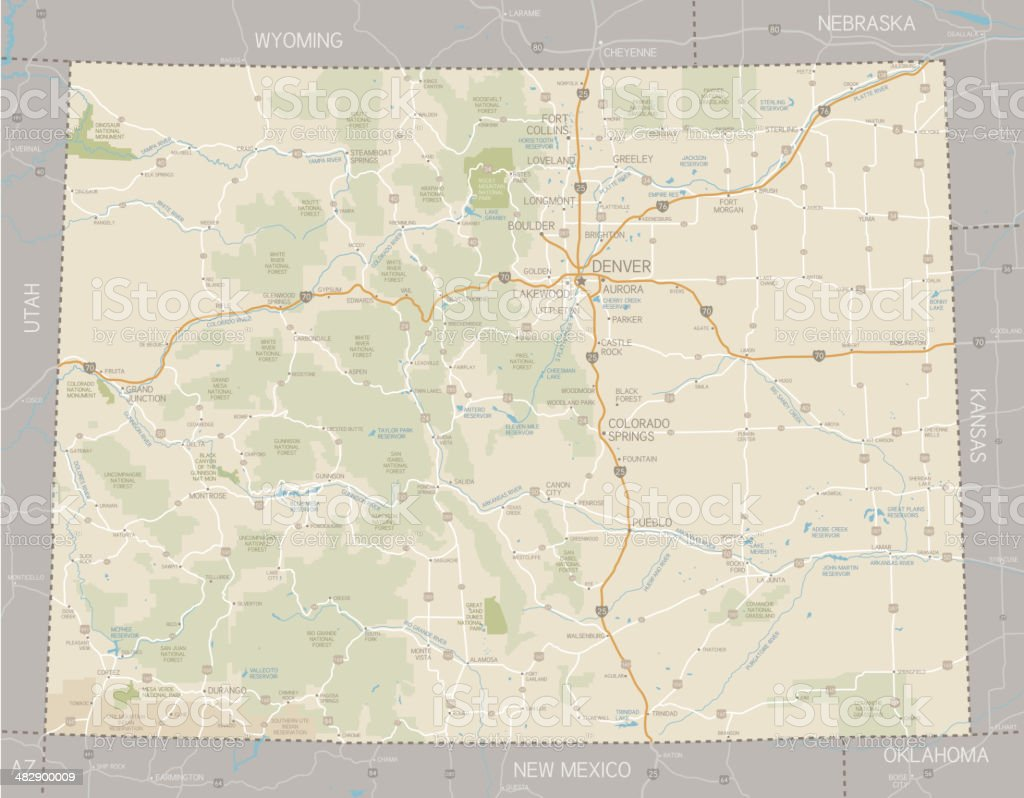 Colorado Map vector art illustration